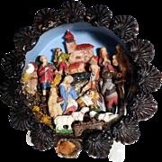 SOLD Very Rare German Miniature Creche Nativity Shadow Box ca. 1880