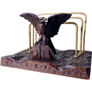 Letter Rack Hand Carved Eagle Black Forest ca. 1920