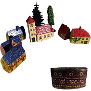 SOLD German Miniature Handcrafted Doll Village Houses Trees Church in Gift Box