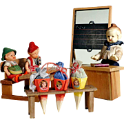 SOLD German Doll Village School Teacher Pupils Bench - So Cute!