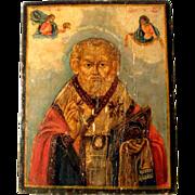 19C Russian Icon Saint Nicholas of Myra The Wonderworker