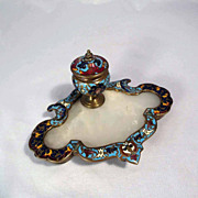 19th Century  French Inkwell Enamel Work and Marble