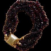 SALE Vintage Four Strand Garnet Bracelet