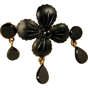 SALE Unusual Gutta Percha Mourning Brooch ca. 1900