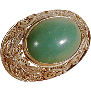 SALE Silver Filigree Brooch with Large Jade Cabochon