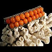 Art Deco Coral Brooch Silver Mount