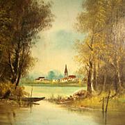SALE Amazing Lacustrine Landscape Barbizon School ca. 1880