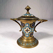 19C French Enamel and Bronze Match Holder