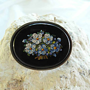 SALE Edwardian Era Micro Mosaic Brooch Forgot-me-Not