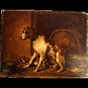 SOLD Dog Family Oil on Oak Panel 1857