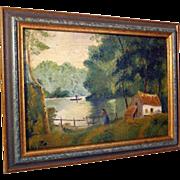 Charming Folk Art Painting Farewell