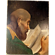 Saint or Monk Studying the Bible Oil Painting ca. 1860