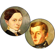 SOLD Pair of Biedermaier Portraits Siged and Dated 1854