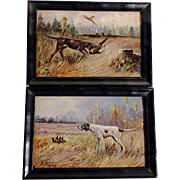 Chase Dogs Pair of Matching Oil Paintings