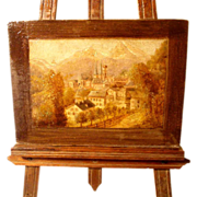 SOLD Hand Painted Landscape Miniature on Wooden Plaque with Easel ca. 1870
