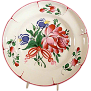 Superb  Vintage French Majolica Wall Plate Flower Bouquet St Clement