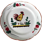 French Majolica Plate Rooster Les Islettes