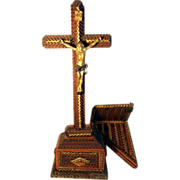 Rare Tramp Art Crucifix  with Wall Shelf Folk Art ca. 1900