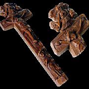 German Folk Art  Reliquary Cross Trinity Mater Dolorosa  Hand Carved