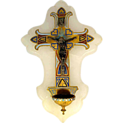 SALE 19th Century Holy Water Stoup Enamel Cross on Alabaster Plaque
