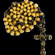 SALE 19th Century French Missionary Rosary Bone Beads Unusual Cross Three Apostles