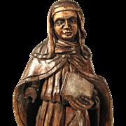 Religious Carving  Bridget of Sweden Nun with Book ca. 1850