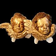 SALE 19C German Folk Art Hand Carved Cherub Putty Heads