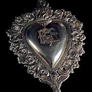 Unusual Large Ex-Voto Votiv Offering Most Sacred Heart of Jesus