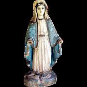 SALE 19th Century German Folk Art Hand Carved Virgin of Mercy