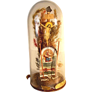 German Folk Art Devotional Piece Glass Dome with Crucifix