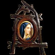 House Altar Hand Carved Frame and Porcelain Medallion Blue Virgin