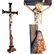 SOLD Superb Late Baroque Crucifix Jesus Mater Dolorosa German Folk Art