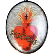 SOLD Lovely Monastery Work Jesus Sacred Heart 19th Century