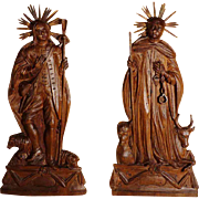 18th Century   Hand Carving Saints Leonard and Wendelin Rare Fragment Choir Stalls