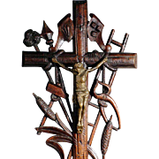 SOLD 19th Century Crucifix with Passion Instruments Folk Art Carving Black Forest
