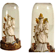 19th Century German Folk Art Miniature Devotional Piece Glass Dome Virgin Mary Wax Sculpture