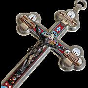 Micro Mosaic Bottony Cross Crucifix Four Roman Views ca. 1880 Rare Colors