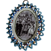 SOLD Fine Engraving Confirmation Holy Card Glass Beads Frame