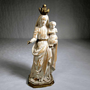 SOLD Virgin Mary holding Jesus German Folk Art Carving ca. 1900