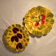 Pair of French Majolica Plates Strawberries  and Plums about 1920