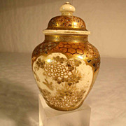 SALE Satsuma Vase with Lid  Ginger Jar ca. 1900