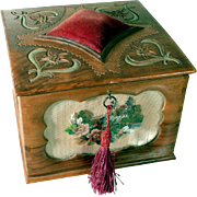 Sewing Box Hand Carved Lid with Pin Cushion Beadwork