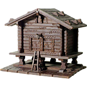 Hand Carved Sewing Box Chalet Shape Black Forest ca. 1900