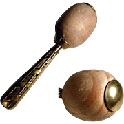 Unusual Darning Egg with Brass Handle ca. 1920