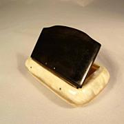 SALE 19C Horn Bicolor Snuff Box Flap Lid