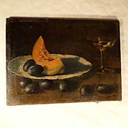 SOLD Charming Still Life Melon Plums and Wine Glass 1904