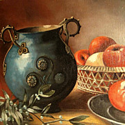 SOLD Still Life with Mistletoe, Vase and Apples 19th Century