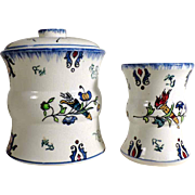 19C Rare French Pottery Tobacco Pot/Jarr and Match Holder Longwy