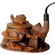 SALE Hand Carved Tobacco Pot with Pipe Folk Art Black Forest ca. 1900