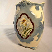 Shapely Vase Majolica Choisy le Roi  Atelier Hippolythe Boulager Hand Painted about 1900